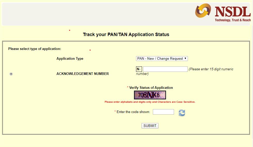 NSDL Pan application status