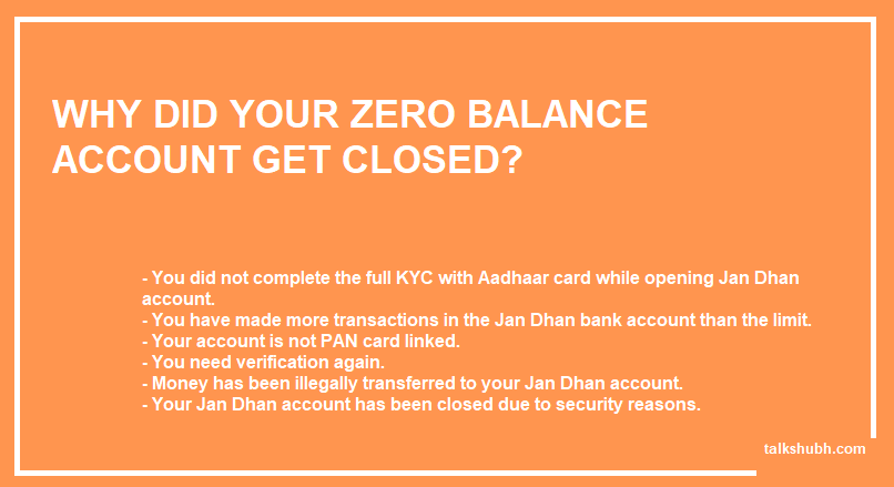 possible reasons why your zero balance jan dhan yojana account got closed