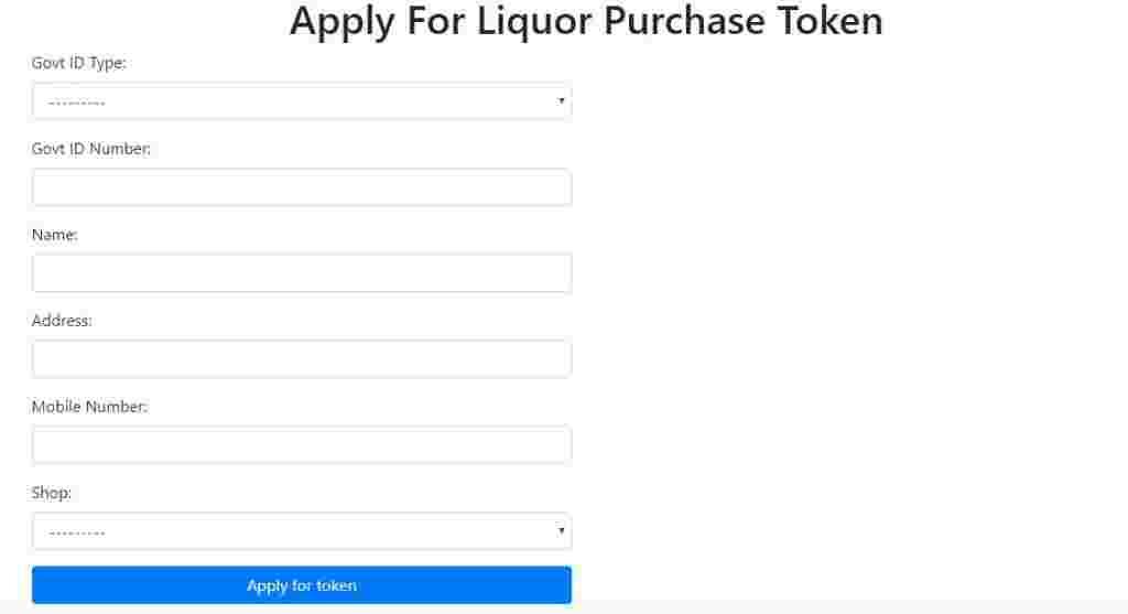 Application form for qtoken for liquor in Delhi