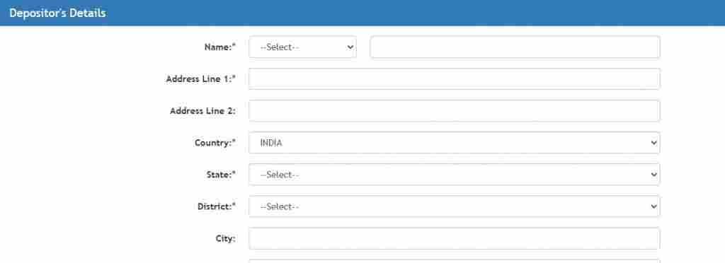 bharatkosh quick payment depositor's details