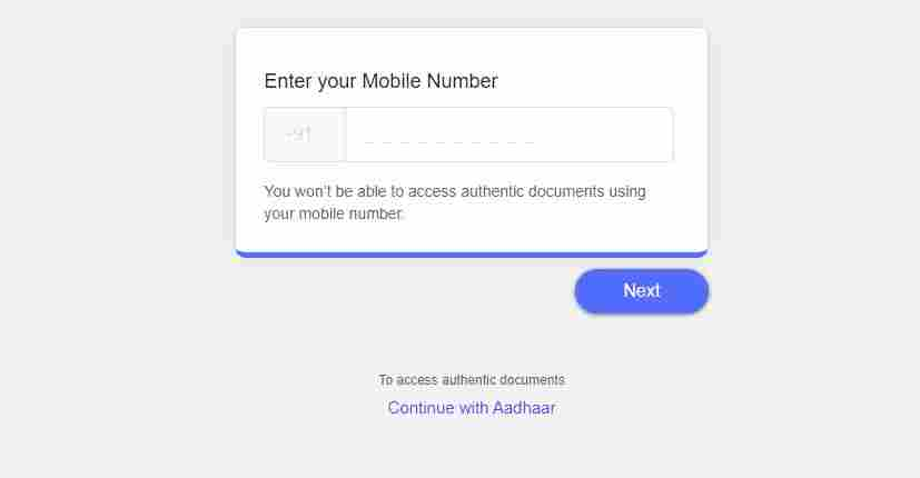 digilocker account using mobile number