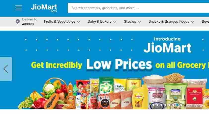 jio mart website online shopping step 1