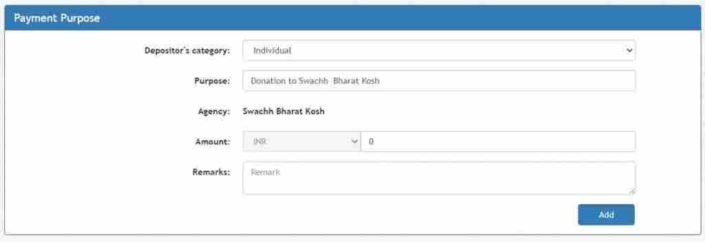 swachh bharat kosh payment page