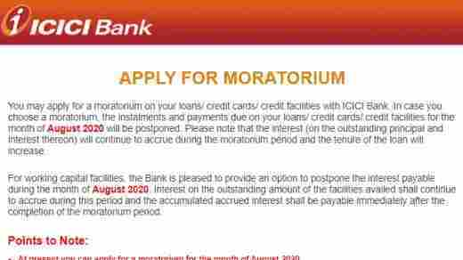 ICICI loan moratorium