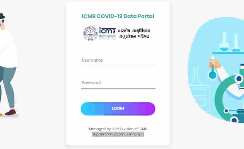 ICMR Covid data portal login and registration