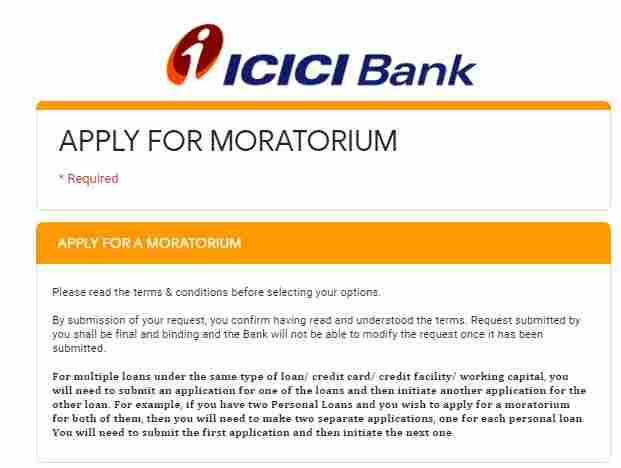 icici bank loan moratorium apply