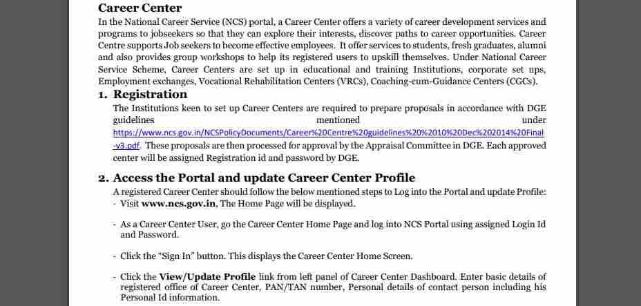 national career service portal - career center details