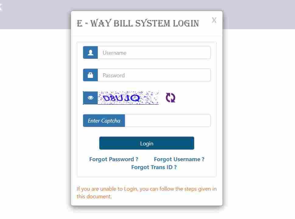 gst eway bill login page