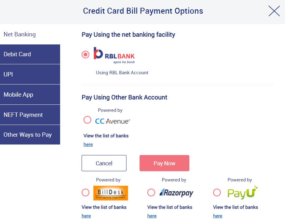 RBL Credit Card Bill Payment Using Internet Banking