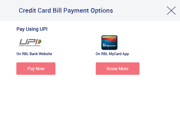 RBL Credit Card Bill Payment by UPI Method