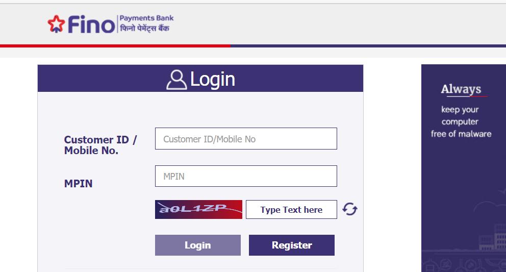 Fino bank login page