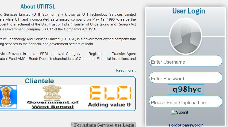 PSA Login Online at PSA Online UTIITSL Portal