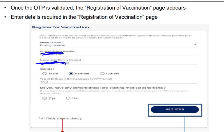 cowin.gov.in Kerala self registration form